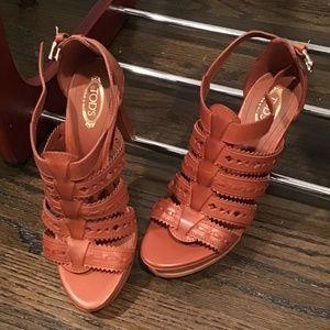 Tod's Cognac Leather Sandals with Platform US 7.5